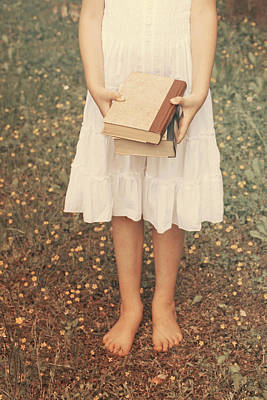 Girl With Old Books Print by Joana Kruse