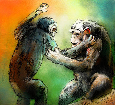 Chimpanzee Mixed Media - Give Me A Hug by Miki De Goodaboom