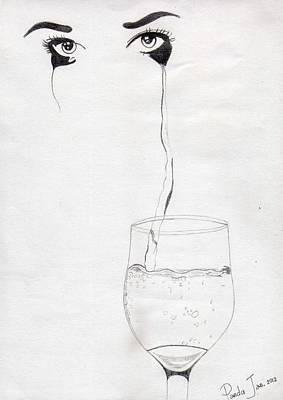 Tear Drawing - Glass Of Tears by Cherryl Fernandez