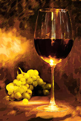 Glass Of Wine And Green Grapes By Candlelight Print by Elaine Plesser