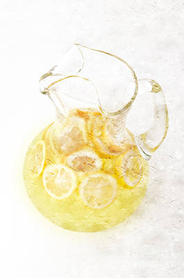 Glass Pitcher Of Lemonade Print by Andee Design
