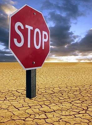 Stop Sign Photograph - Global Warming Warning, Conceptual Image by Tony Craddock