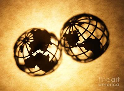 Brown Toned Photograph - Globe 2 by Tony Cordoza