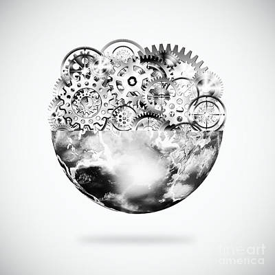 Meshed Photograph - Globe With Cogs And Gears by Setsiri Silapasuwanchai