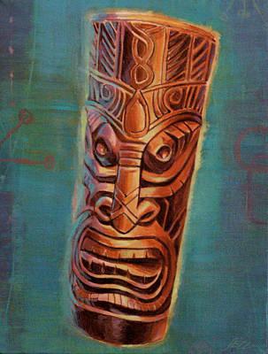 Glowing Ebony Tiki God Print by Shawn Shea