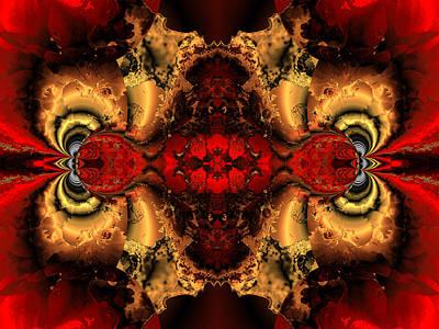 Algorithmic Digital Art - Glowing Red Vision by Claude McCoy