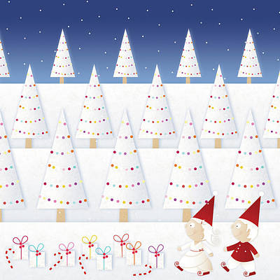 Cold Temperature Digital Art - Gnomes - December by ©cupofsnowflakes