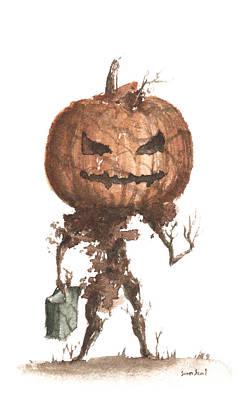 Goblin Tree Trick Or Treat Print by Sean Seal