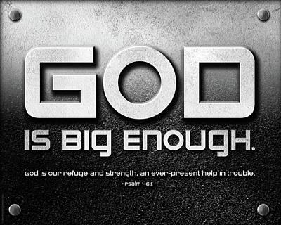Christian Artwork Mixed Media - God Is Big Enough - 2 by Shevon Johnson