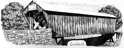 Covered Bridge Painting - Goddard Covered Bridge by Kyle Gray