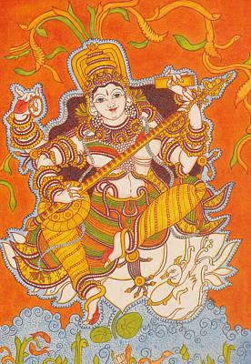 Swan Goddess Painting - Goddess Saraswathy by Deepa Gopal Sunil