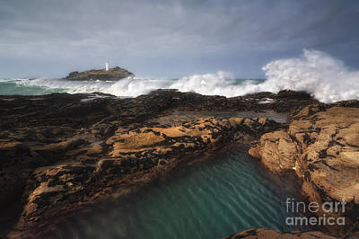 Godrevy Lighthouse In Cornwall, England Print by Arild Heitmann