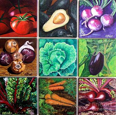 Spinach Painting - God's Kitchen Series Canvasses One To Nine by Caroline Street