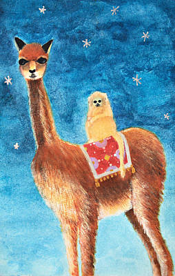 Llama Mixed Media - Goin' For A Ride by Heather M Nelson