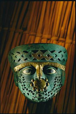 Gold-and-copper Burial Mask Print by Kenneth Garrett