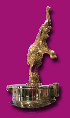 Car Mascot Digital Art - Gold Buggatti Mascot by Jack Pumphrey