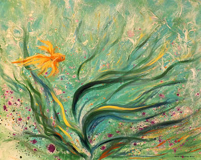 Gold Fish 22 Print by Gina De Gorna