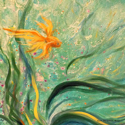Gold Fish 23 Print by Gina De Gorna