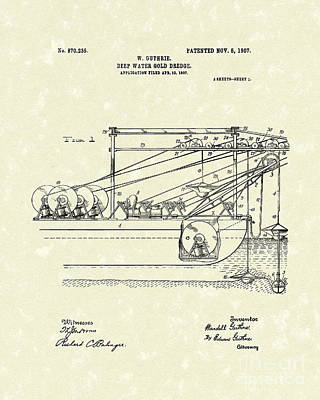 1907 Drawing - Gold Mining 1907 Patent Art by Prior Art Design