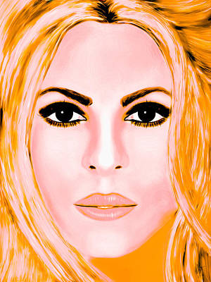 Shakira Digital Art - Gold Shakira by Mathieu Lalonde