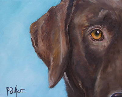 Chocolate Lab Puppy Painting - Golden Eye by Patricia DeHart