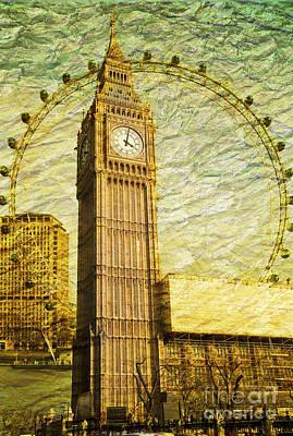 London Eye Digital Art - Golden Eyes by Donald Davis