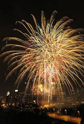 Golden Fireworks Over Minneapolis Print by Heidi Hermes