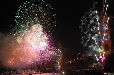 Golden Gate Bridge 75th Anniversary Fireworks Print by Michael Meinberg