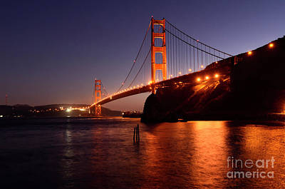 Golden Gate Bridge At Night 2 Print by Bob Christopher