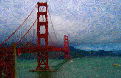 Impasto Oil Photograph - Golden Gate II by Caroline Lomeli