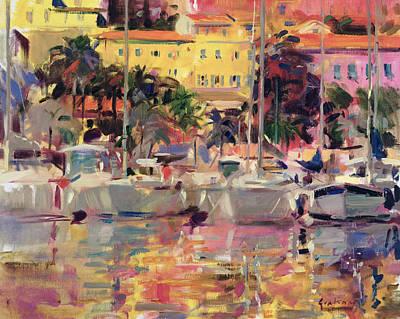Golden Sunlight Painting - Golden Harbour Vista  by Peter Graham