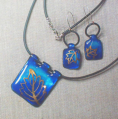 Hand Painted Pendant Jewelry - Golden Leaves 2 by Asya Ostrovsky