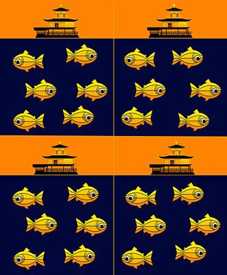 Golden Trout Digital Art - Golden Pavilion In Kyoto Japan And Golden Trouts by Asbjorn Lonvig