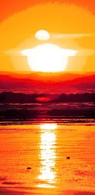 Cloudscape Digital Art - Golden Sunset Illustration by Phill Petrovic