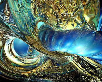 Digital Photograph - Golden Tidal Wave Fx  by G Adam Orosco
