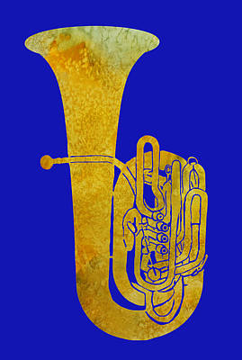 Jazzy Digital Art - Golden Tuba by Jenny Armitage