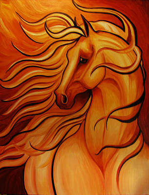 Golden Windblown Horse Print by Leni Tarleton