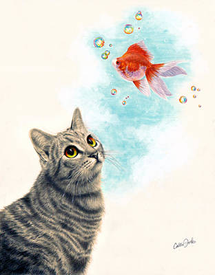 Goldfish Mixed Media - Goldfish Dreams by Callie Fink