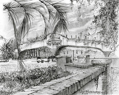 Village Scene Drawing - Golf Cart Bridge by Jim Hubbard