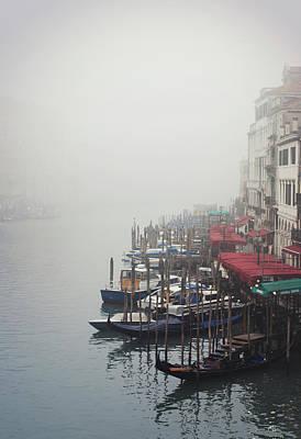 Gondolas On Grand Canal In Fog Print by Silvia Sala