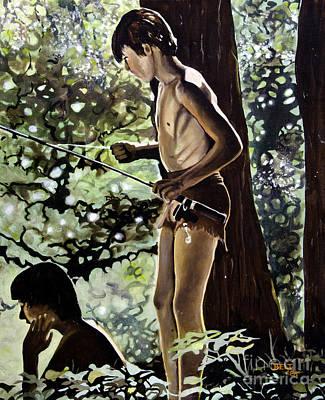 Artist Christine Belt Painting - Gone Fishing by Christine Belt