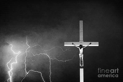 Good Friday - Crucifixion Of Jesus Bw Print by James BO  Insogna