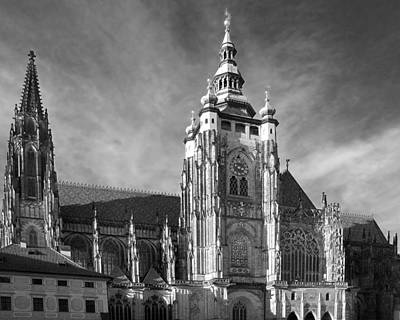 Gothic Saint Vitus Cathedral In Prague Print by Christine Till
