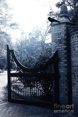 Ravens And Crows Photograph - Gothic Surreal Guardian Raven At Black Gate by Kathy Fornal