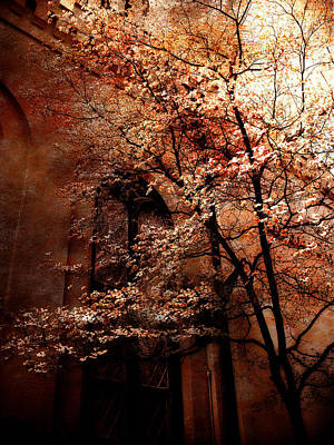 Gothic Dark Photograph - Gothic Surreal Haunting Trees Church Yard Autumn Fall  by Kathy Fornal