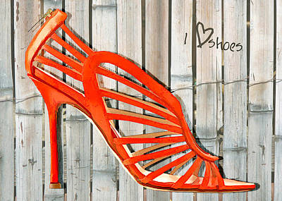 Stilettos Painting - Graffiti Orange Cage Stilettos by Elaine Plesser