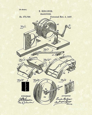 Player Drawing - Gramophone 1887 Patent Art by Prior Art Design