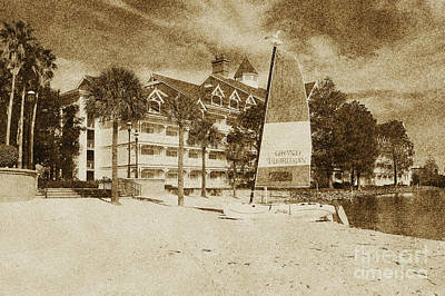 Grand Floridian Resort Beach Walt Disney World Prints Vintage Print by Shawn O'Brien