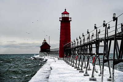 Grand Haven Ice Walk Print by Joe Gee