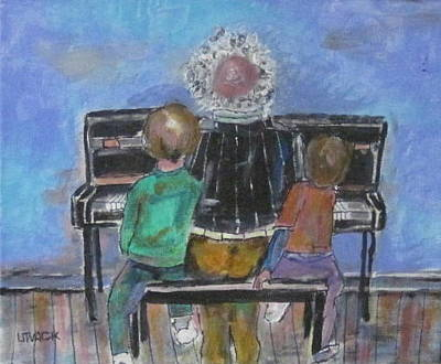 Litvack Painting - Grandpa And The Lesson by Michael Litvack